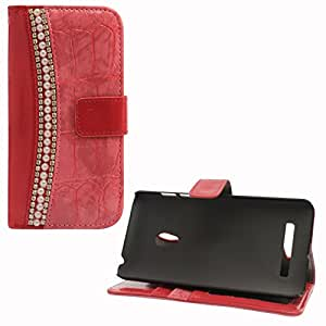 DMG Glitter Rhinestone Pearl PU Leather Magnetic Wallet Flip Stand Cover Case For Asus Zenfone 5 (Pink)
