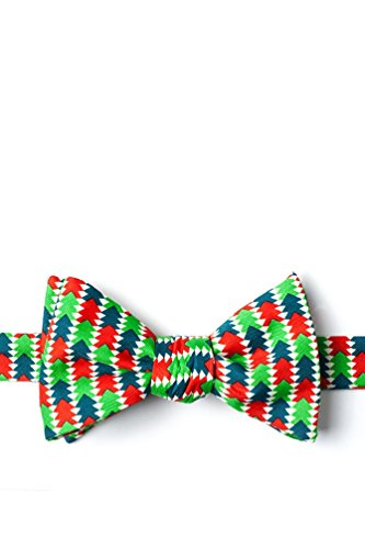 Christmas Tree Abstract Green Microfiber Butterfly Bow Tie