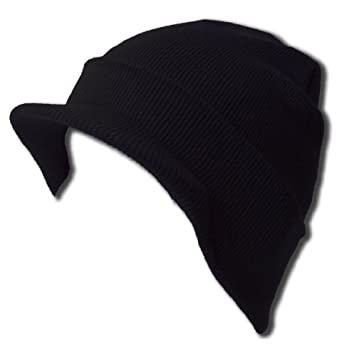 New Blank Cuff Beanie Visor (Comes In Many Different Colors), Black