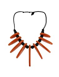 Tawny Brown Orange Spike Black Beads Statement Necklace (MN-necklace_G43)