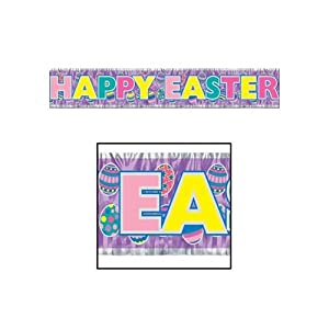 Beistle 40880 1-Pack Metallic Happy Easter Fringe Banner for Parties, 8 by 5-Feet by The Beistle Company