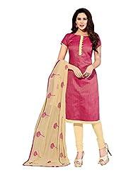 Varanga Pink Exclusive Dress Material with Chanderi Jackard Fancy Dupatta KF3DMS14012