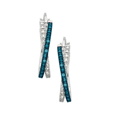 1/10 Ct. Tw. Blue And White Diamond Hoop Earrings In Sterling Silver
