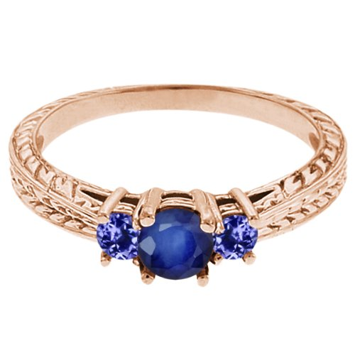 0.60 Ct Round Blue Sapphire Tanzanite 18K Rose Gold 3-Stone Ring