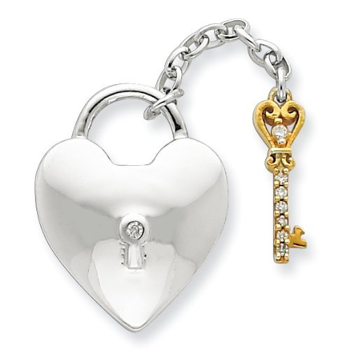 PriceRock Sterling Silver & Vermeil Diamond Lock & Key Pendant