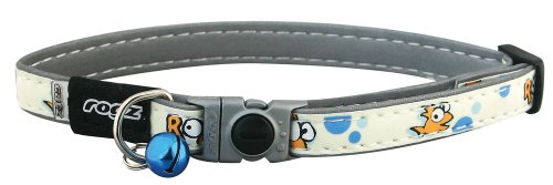 Reflective and Glow-in-the-Dark Adjustable Cat Collar with Safeloc Breakaway Clip - Gold Fish Design, Small