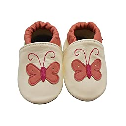 Sayoyo Baby Butterfly Soft Sole Leather Infant Toddler Prewalker Shoes (6-12 months, White)