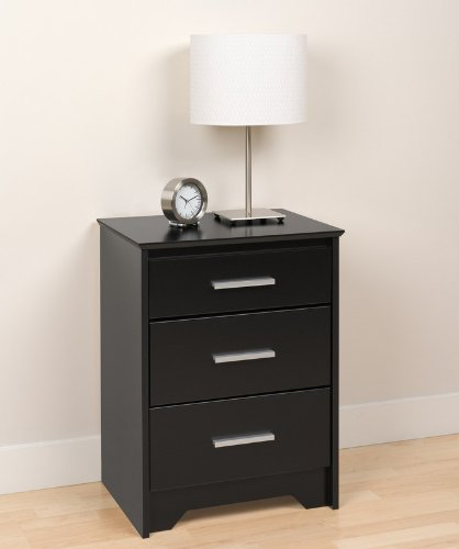 Tall Night Stand with Three Drawers in Black Finish