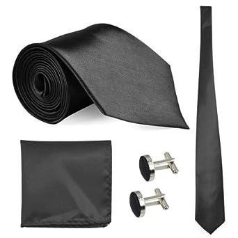 Fashion Mens Woven Silk Tie, Hanky & Cufflinks Set Well-Style-11 Colours Avaliable (Black)