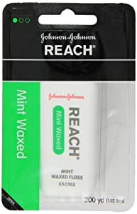Reach Dental Floss, Waxed, Mint, 200 Yard  (Pack of 6)