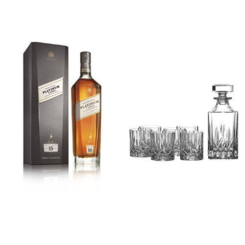 discount duty free Johnnie Walker Platinum Label Blended Scotch Whisky and Royal Doulton Crystal Decanter Set of 7