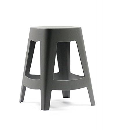 Sgabello Esterno Design impilabile in plastica grigio