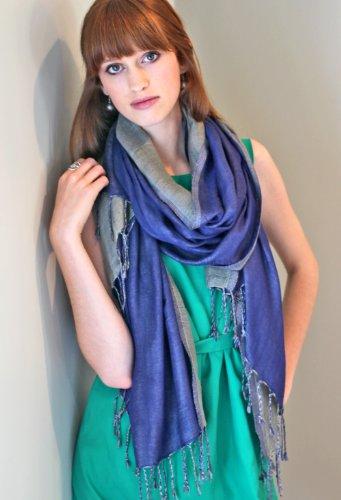 Women'S Double Layer Luxurious Reversible Fashion Scarf Shawl Wrap (Sapphire / Tea Green)