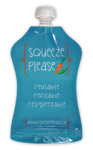 Squeeze Please Reusable Food Pouches for Toddlers, Pre-Schoolers, and Babies (Pack of 3)