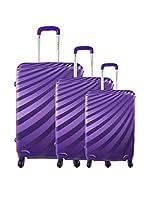 ZIFEL Set de 3 trolleys rígidos A18C (Morado)