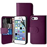 Zonewire� PURPLE WALLET LEATHER FLIP CASE COVER FOR APPLE IPHONE 5 5S & SCREEN PROTECTOR CLEANING CLOTH