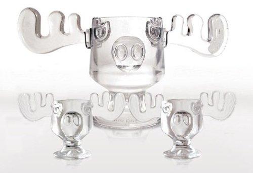 christmas vacation glass moose mug punch bowl set w set of 2 moose mugs - Christmas Vacation Moose Mug Set