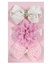 Stephan Baby Girl Cream & Pink Headband Set of 3, Up to 24 Months