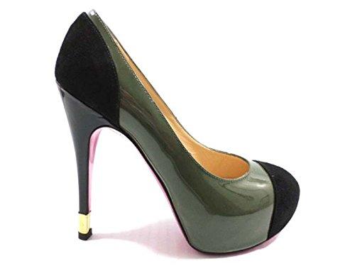 scarpe donna LUCIANO PADOVAN 38 EU decolte verde scuro nero vernice / camoscio AY621