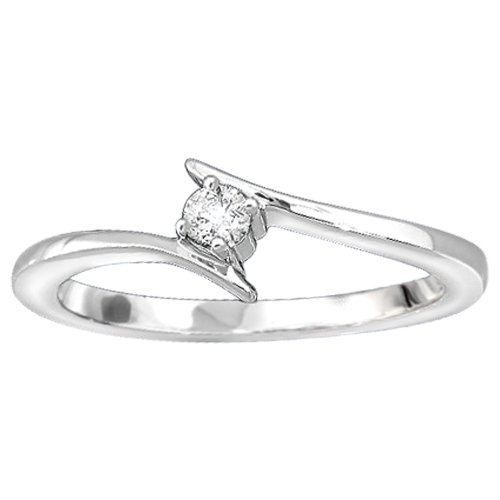 14k White Gold Diamond Promise Ring (1/10 cttw, H-I Color, I1-I2 Clarity), Size 7