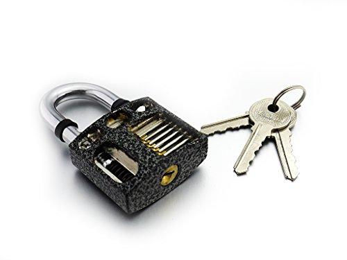 BESTOPE Professional Cutaway Inside View of Practice Padlocks Lock Training Trainer Skill Pick for Locksmith with Three Keys