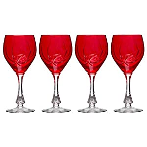 Set Of 4 European Cut Crystal Goblets Red