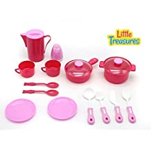 Little Treasures Kitchen Play Toy Set For Children Pretend Play Cooking & Serving Kit