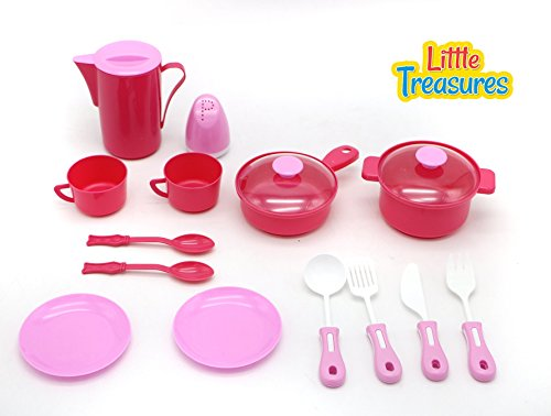 Little Treasures Kitchen Play Toy Set for Children Pretend play Cooking & Serving Kit (Cooking For 1 Year Old compare prices)