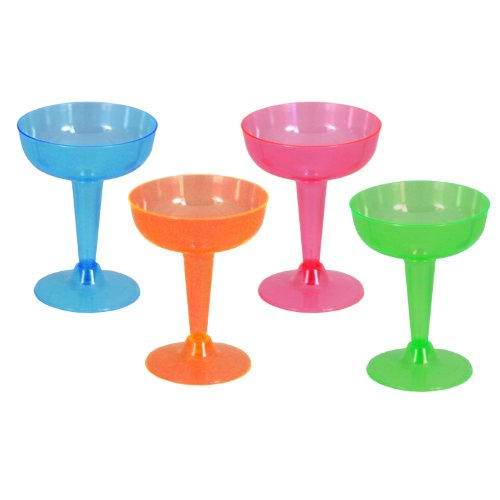 Party Essentials Hard Plastic Two Piece 4-Ounce Champagne Glasses, Assorted Neon, 20 Count
