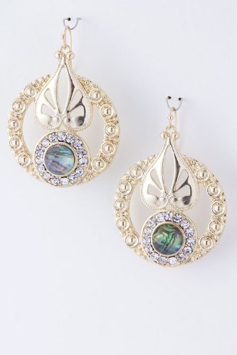 Karmas Canvas Round Shell Ornament Earrings (Gold) front-224627
