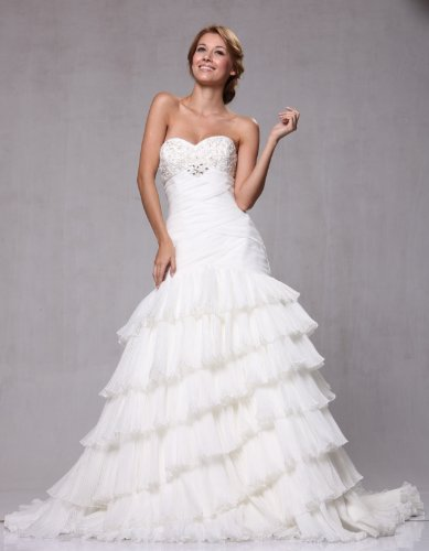 W83 Strapless Organza Fit and Flare Bridal Wedding