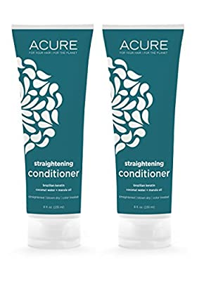 Acure Organics Coconut Straightening Brazilian Keratin Coconut Water + Marula Oil Natural Conditioner, 8 fl. oz. (Pack of 2)