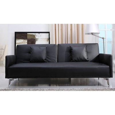 Leader Lifestyle Sven Faux Leather Sofa Bed, Luxurious Black