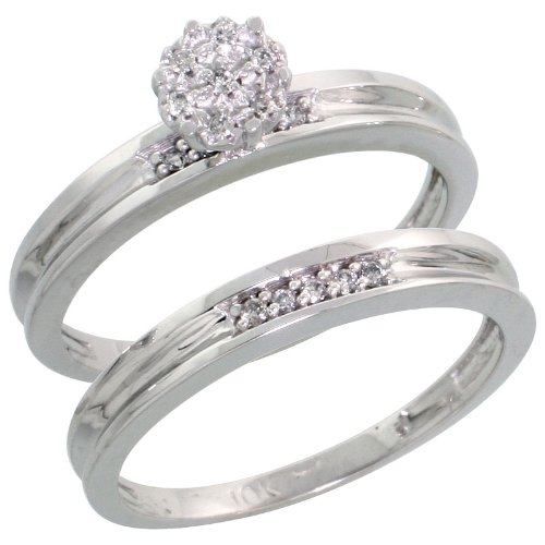 10k White Gold 2-Piece Diamond Engagement Ring Set, w/ 0.07 Carat Brilliant Cut Diamonds, 1/8 in. (3mm) wide, Size 5