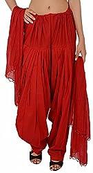 FEMEZONE Women's Cotton Patiala Salwar with Dupatta (FEM4211_Red)