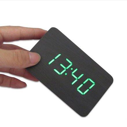 Kabb Black Wood Grain Green Led Light Alarm Clock - Time Temperature - Sound Control - Latest Generation(Usb/3Xaaa)