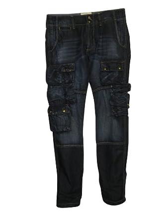 PRPS Goods & Co. Men's Barracuda Fit Dark Blue Denim Cargo Pants, Size 42