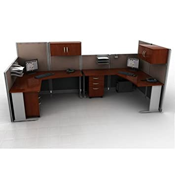 Amazon.com - Hansen Cherry Two Person Workstation with Panels and