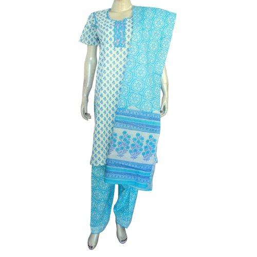 Indian Salwar Kurta Cotton Printed Embroidered Dress Size S(slk480)