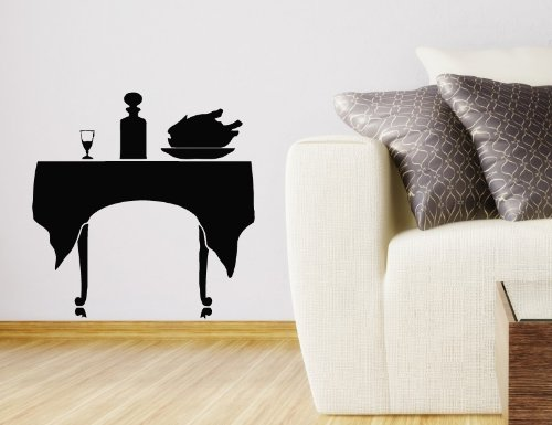 Wall Vinyl Decal Sticker Art Design Table With Food Cafe Kitchen Room Nice Picture Decor Hall Wall Chu1107