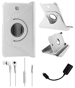 DMG Full 360 Rotating Flip Book Cover Case Stand for Samsung Galaxy Tab 3 T211 with White Earphones + micro USB OTG +DMG Wristband -White