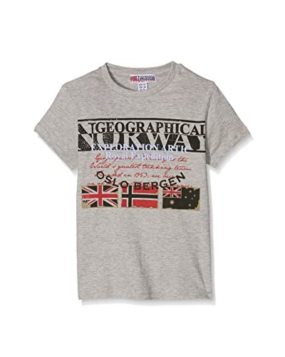 Geographical Norway Camiseta Manga Corta T Shirt Col Rond Gris