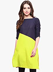 Varibha Girl's Branded Stitched Solid Yellow & Blue Cotton Silk Low Price Kurti (Best Gift For Your Friend, Girlfriend, Wife, Sister, Casual, Free Size alterable till 42)
