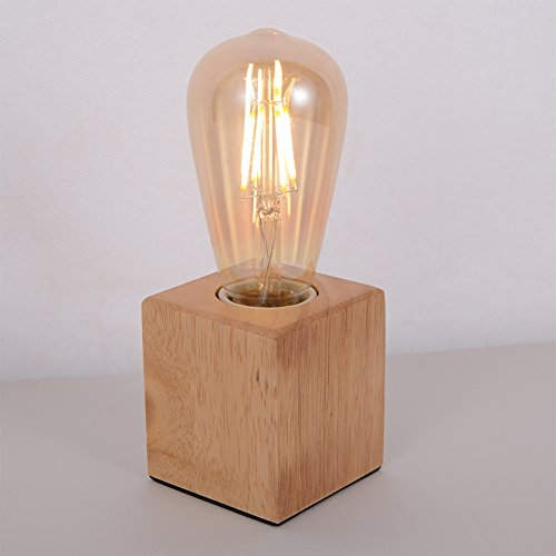 hile lighting ku300078 lighting vintage industrial table light edison bulb wooden desk lampwood