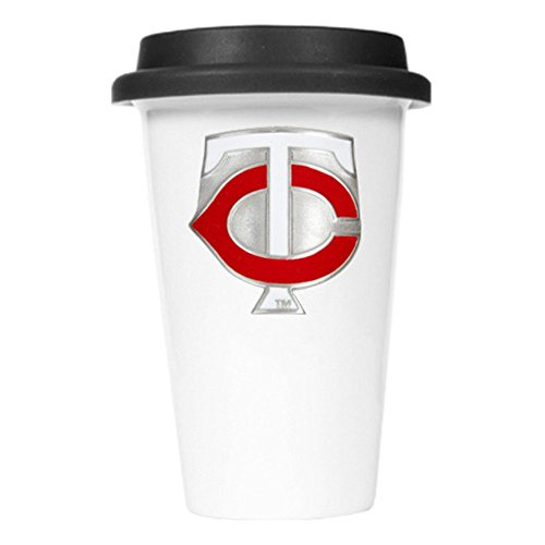 Mlb Minnesota Twins Double Wall Tumbler With Blue Silicone Lid, 12-Ounce front-588914