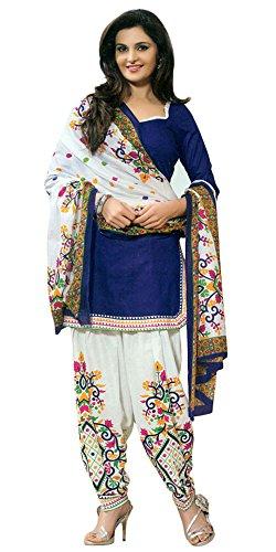 Aracruz Women's Designer Party Wear Dresses Collection Blue Cotton Monika bedi Unstitched Salwar Kameez Suit Dress Material