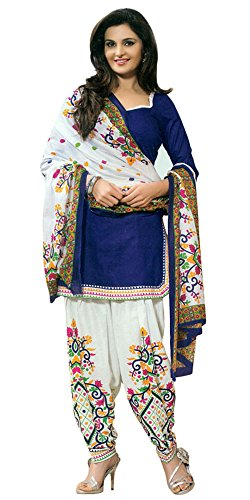 Arawins Women\'s Designer Low Price Diwali Festive Sale Offer Party Wear Collection Blue Cotton Unstitched Patiala Salwar Kameez Suit Dress Material