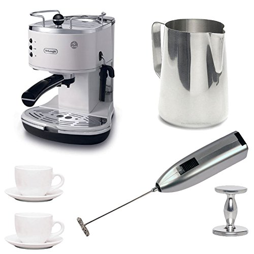 Delonghi Eco310W Espresso Maker With Espresso Tamper, Frothing Pitcher, Two 3 Oz Ceramic Tiara Espresso Cups And Saucers, And Knox Milk Frother