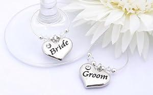 Wedding Gifts For Bride And Groom Uk : and Groom Wine Glass Charms - Personalised Wedding Gift: Amazon.co.uk ...