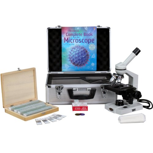 Amscope M600B-Ac-Cm-Ps100A-50P100S Compound Monocular Microscope, Wf10X And Wf20X Eyepieces, 40X-2000X Magnification, Brightfield, Tungsten Illumination, Abbe Condenser, Mechanical Stage, 110V, Includes Set Of 100 Prepared Slides, 50 Blank Slides, 100 Cov